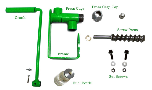 components for the homemade hand crank oil press